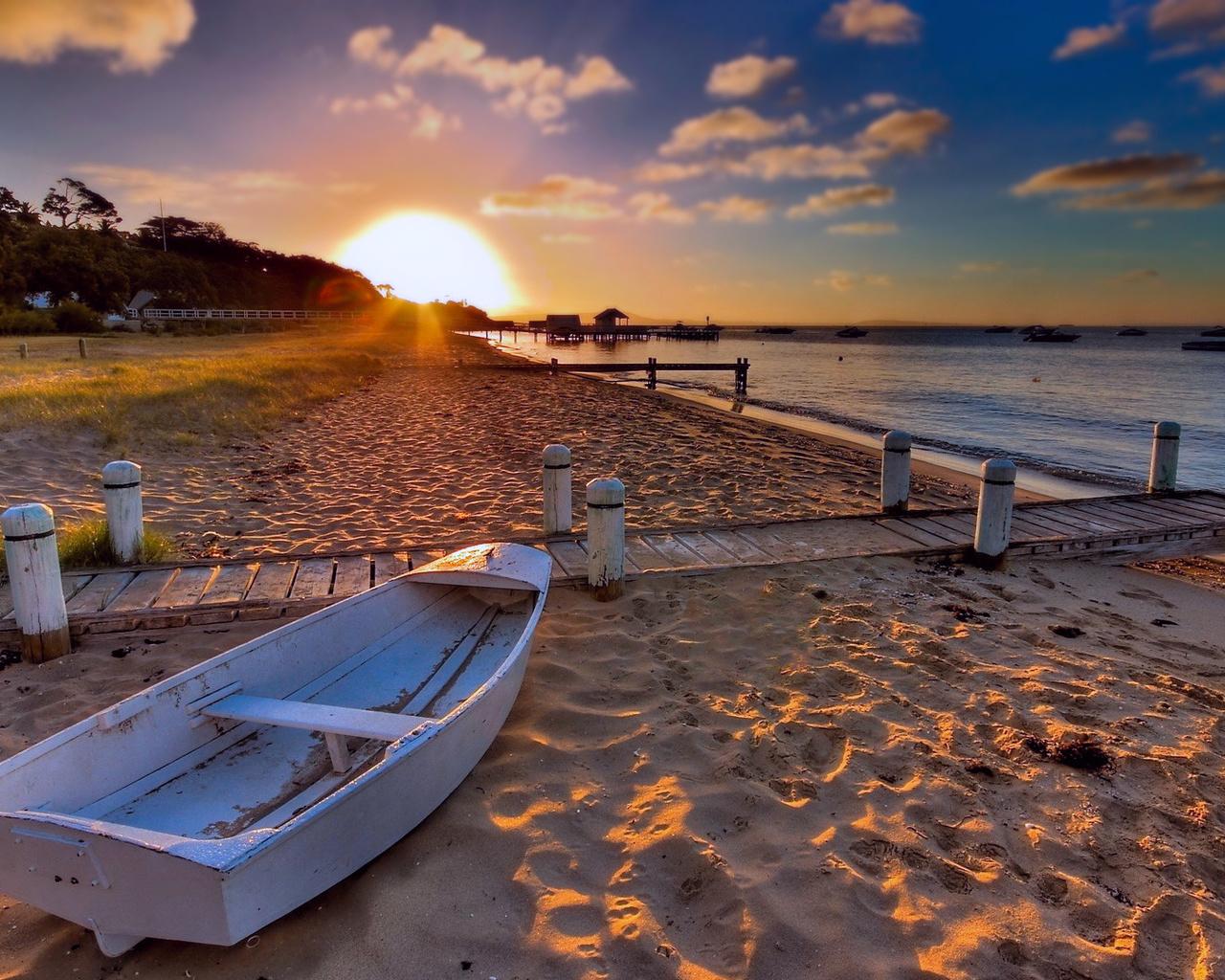 закат, море, пляж, лодка