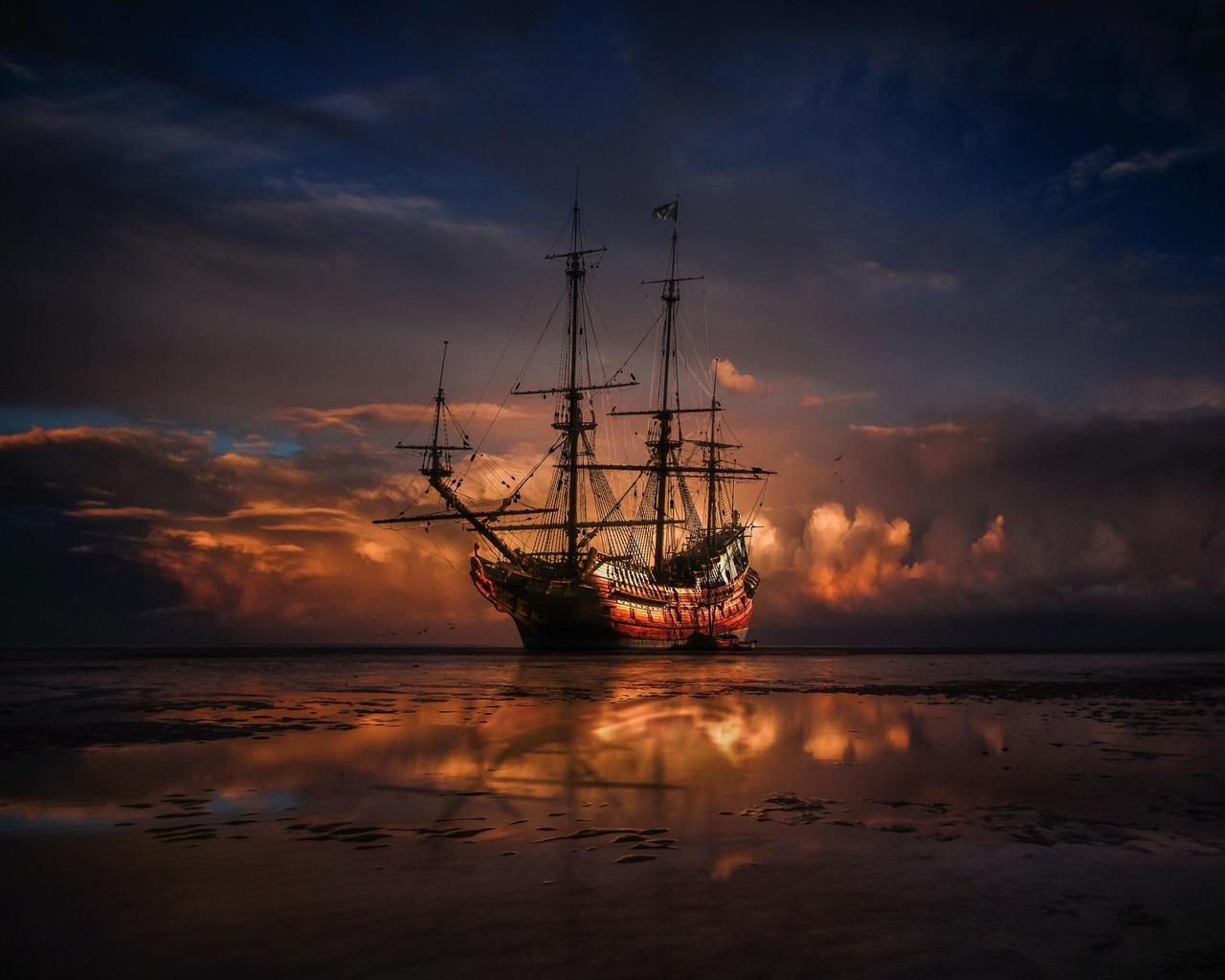корабль, горизонт, закат, море