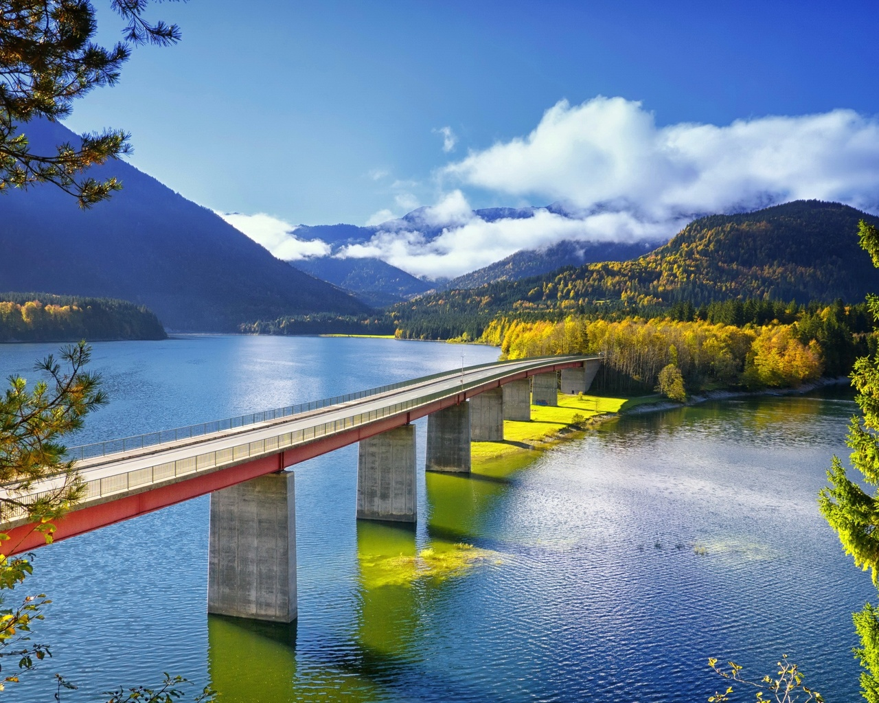мост, озеро, горы