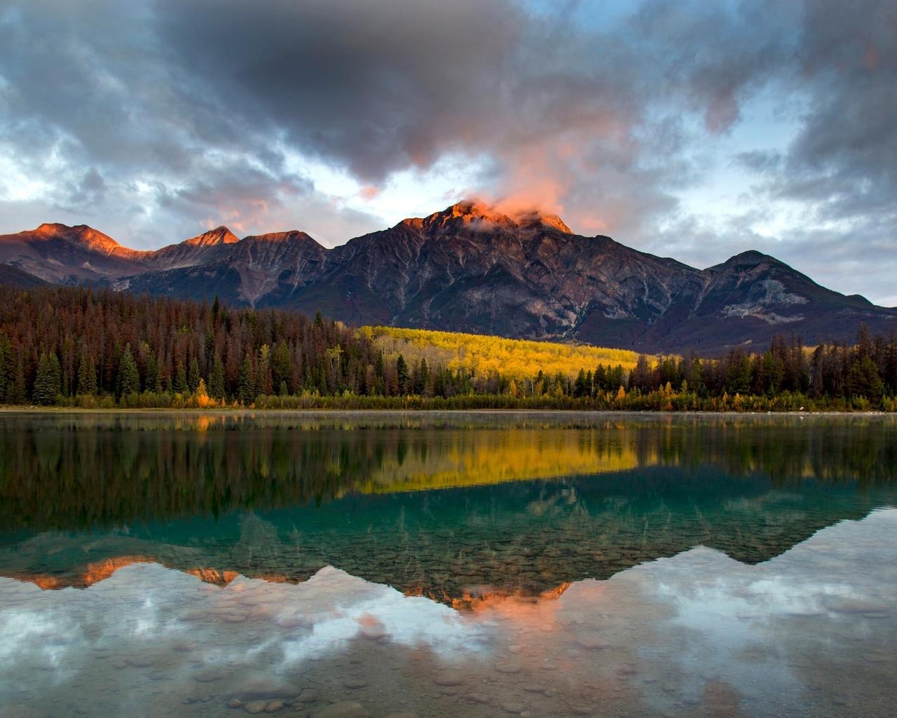 горы, озеро, лес, небо, отражение