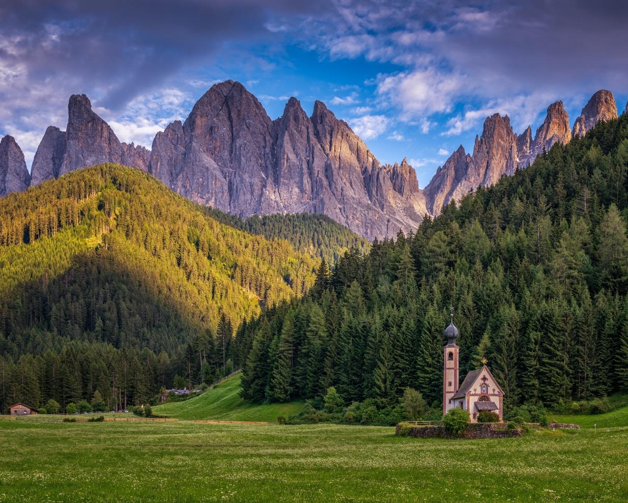 горы, леса, церковь, италия, альпы, доломиты
