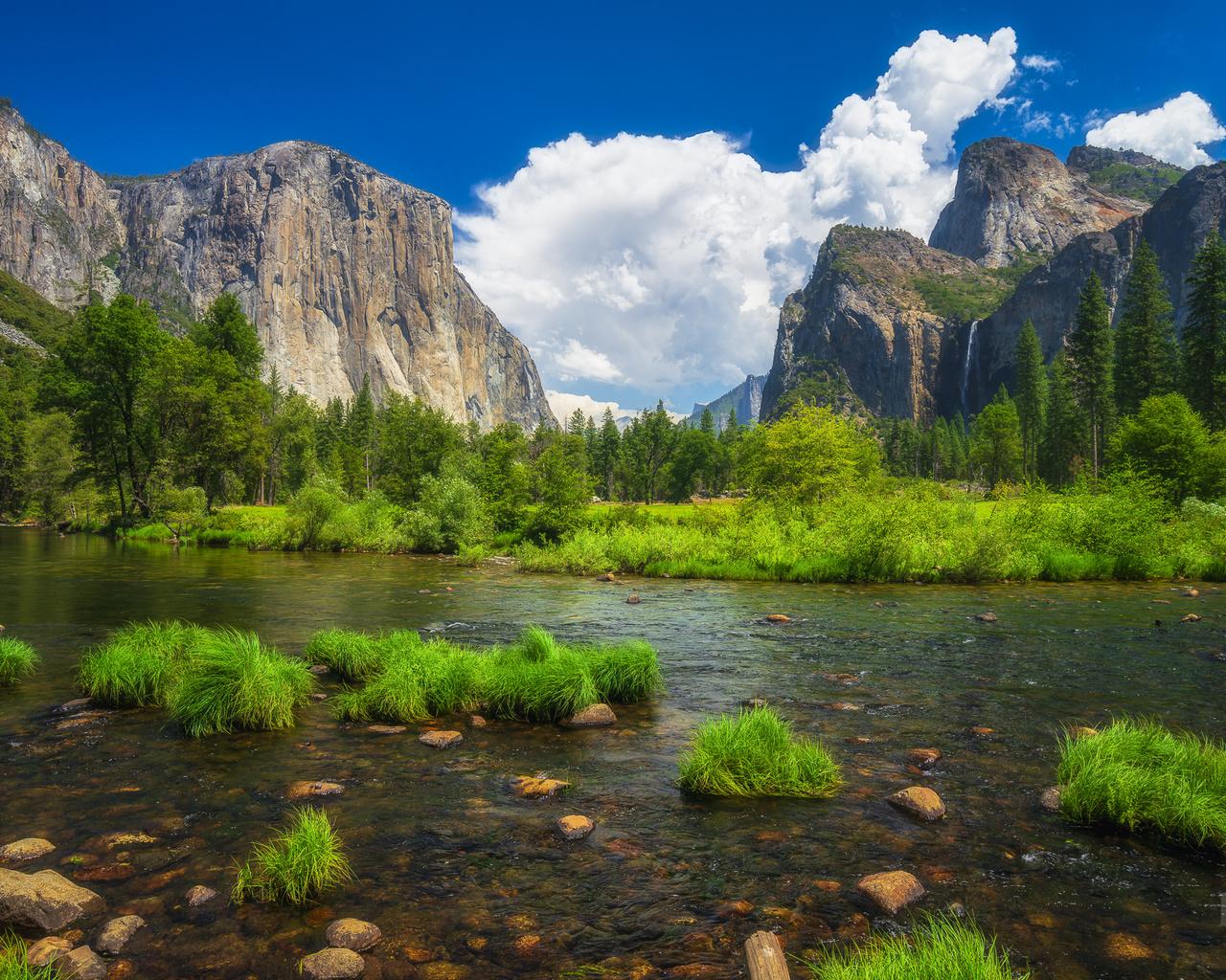 трава, облака, пейзаж, горы, природа, река, камни, сша, йосемити, национальный парк, yosemite national park, merced river