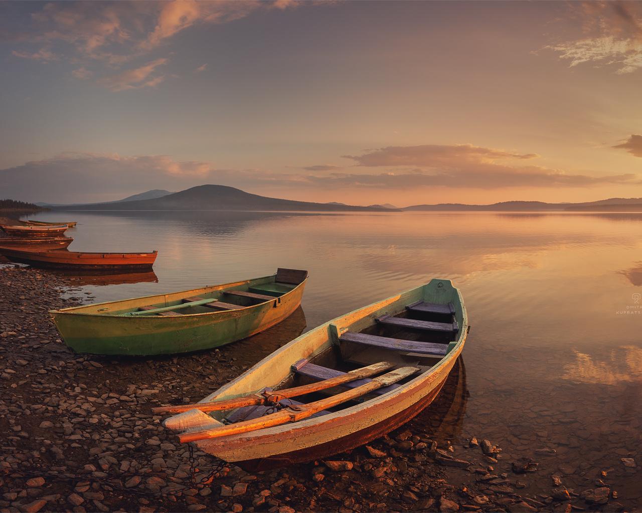 природа, пейзаж, озеро, национальный парк, зюраткуль, лодки, вечер, закат
