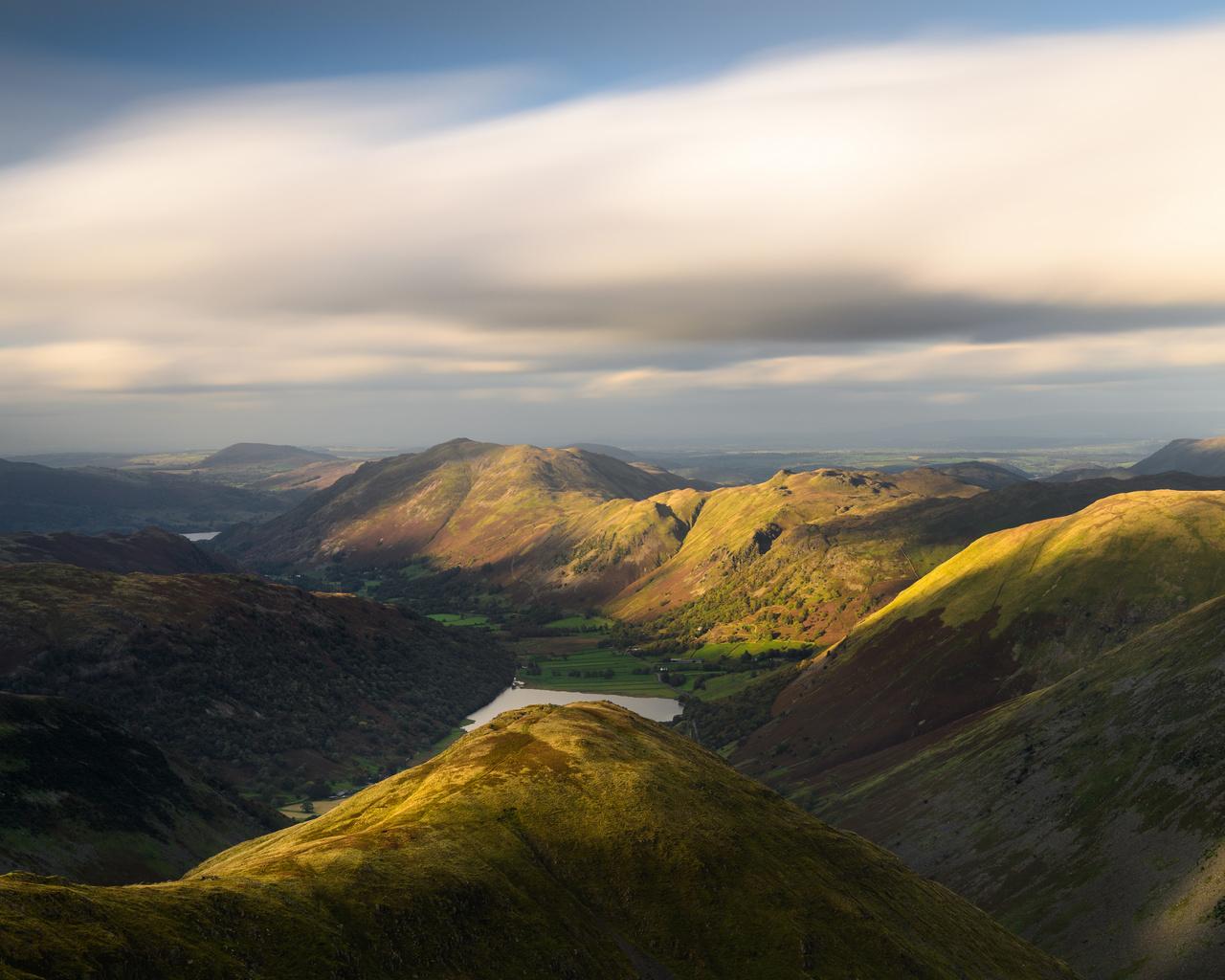 англия, озеро, lake brotherswater, lake district, cumbria, холмы, облака, долина, сверху, природа