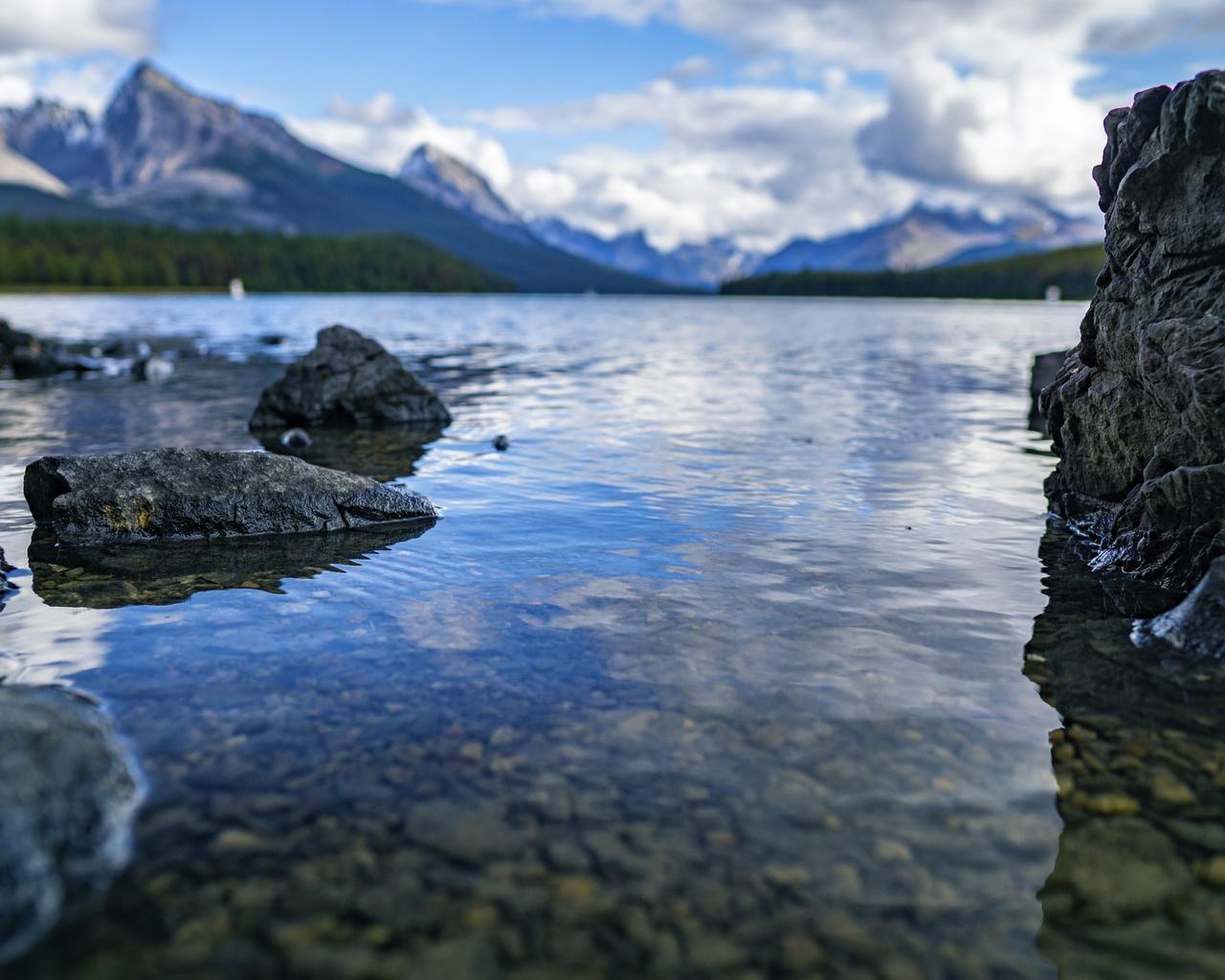 озеро, камни, горы