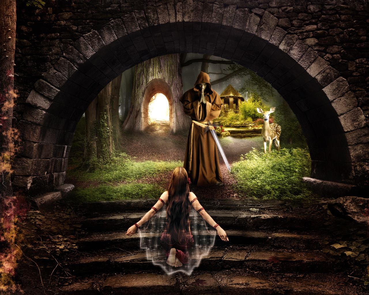 девушка, монах, лес