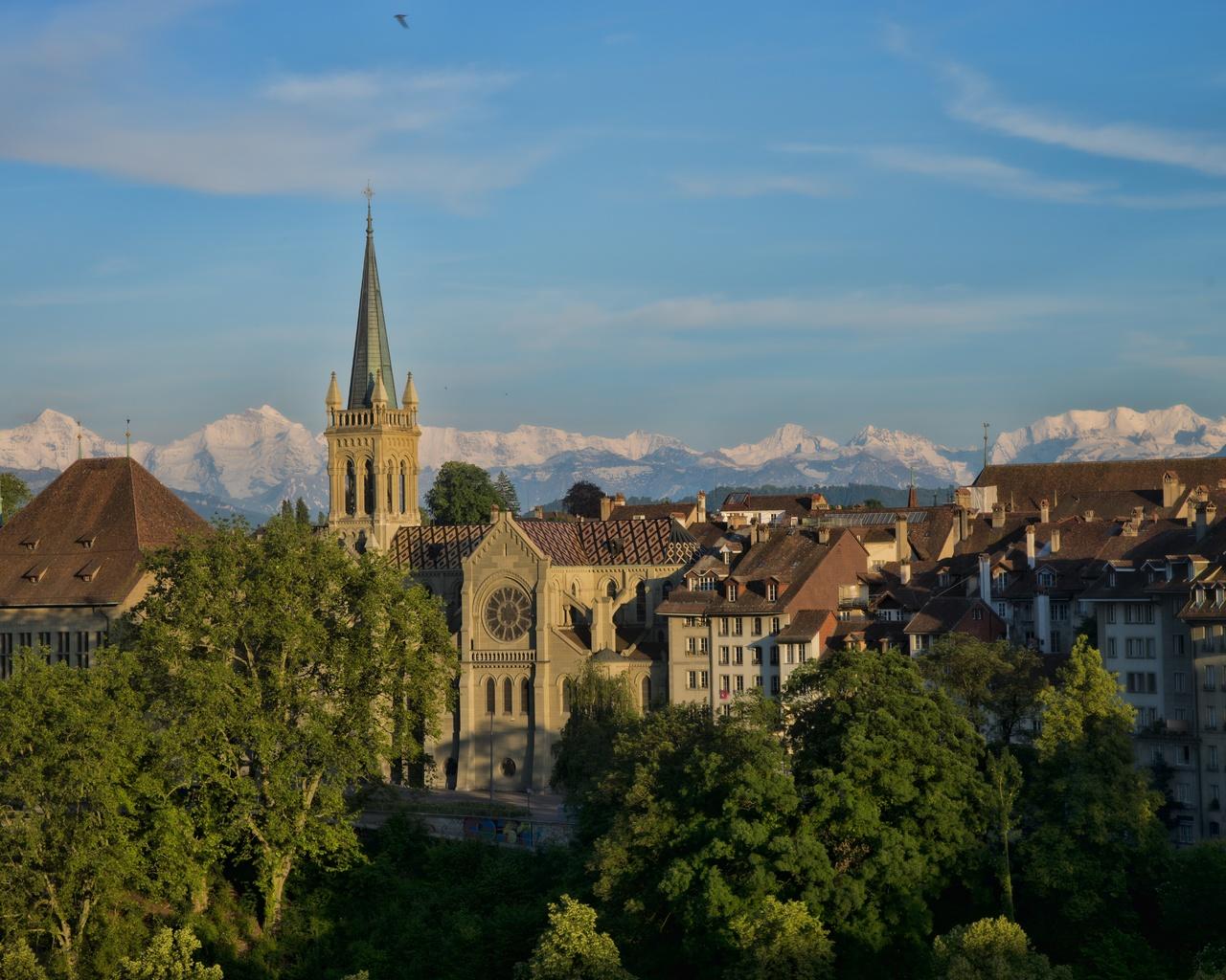 берн, швейцария, дома, башня, город