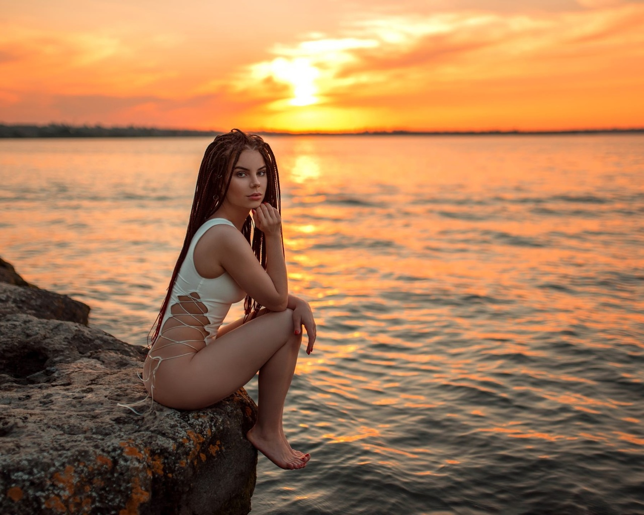 women, one-piece swimsuit, rocks, sunset, women outdoors, brunette, sitting, sea, sky, ass, red nails, long hair