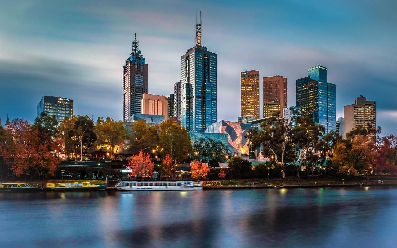 река, Ярра, здания, дома, вечер, освещение, австралия, город, мельбурн