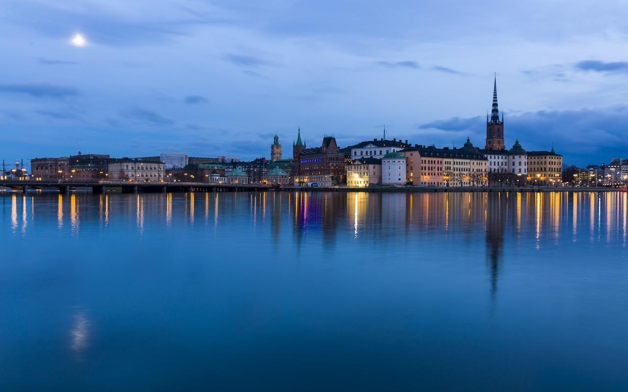 stockholm, вечер, здания, город