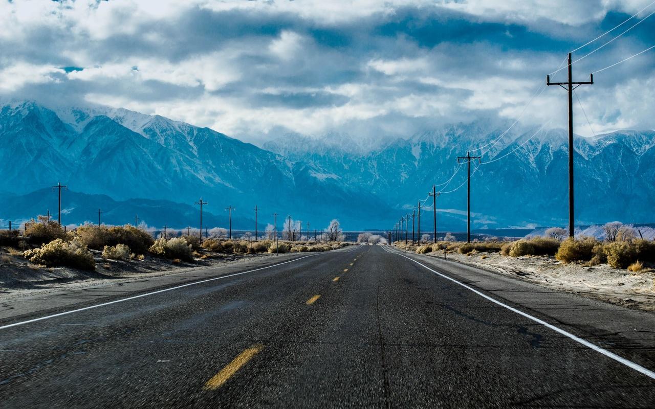 дорога, разметка, расстояние, горы, кусты