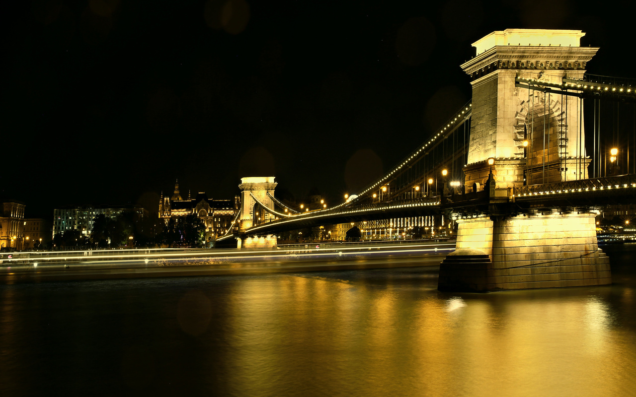 chain bridge, danube river, budapest, night, river, landmark, budapest cityscape, hungary