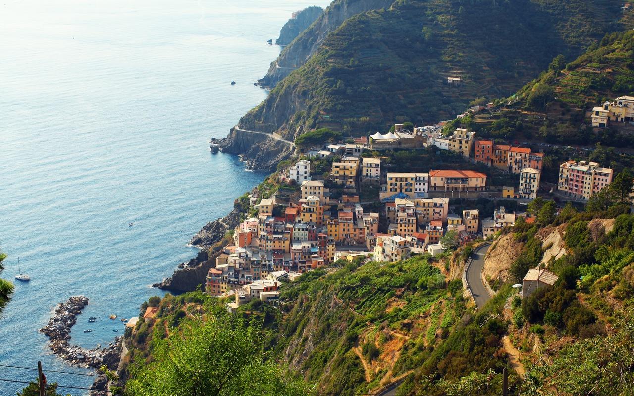 италия, побережье, море, Чинкве-терре, парк, riomaggiore, деревня, сверху, город