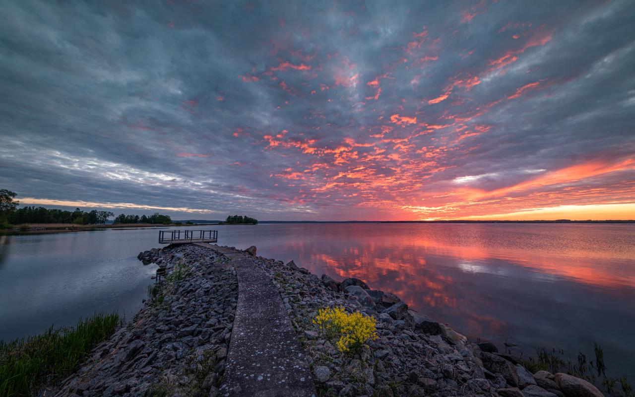 швеция, озеро, закат, природа, облака