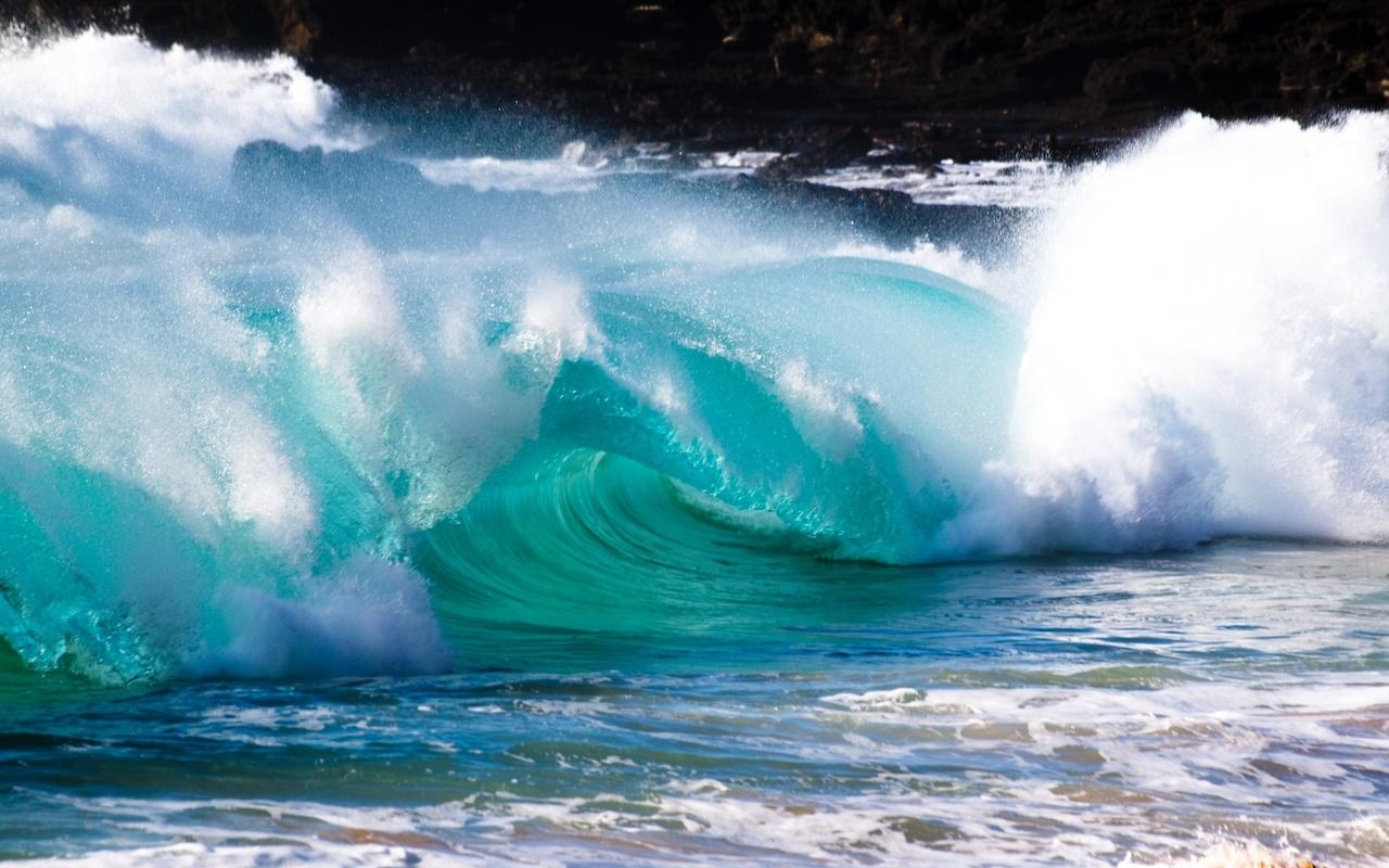 волна, брызги, океан