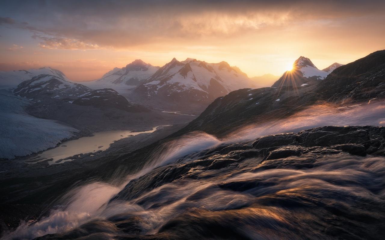 горы, река, поток, водопад