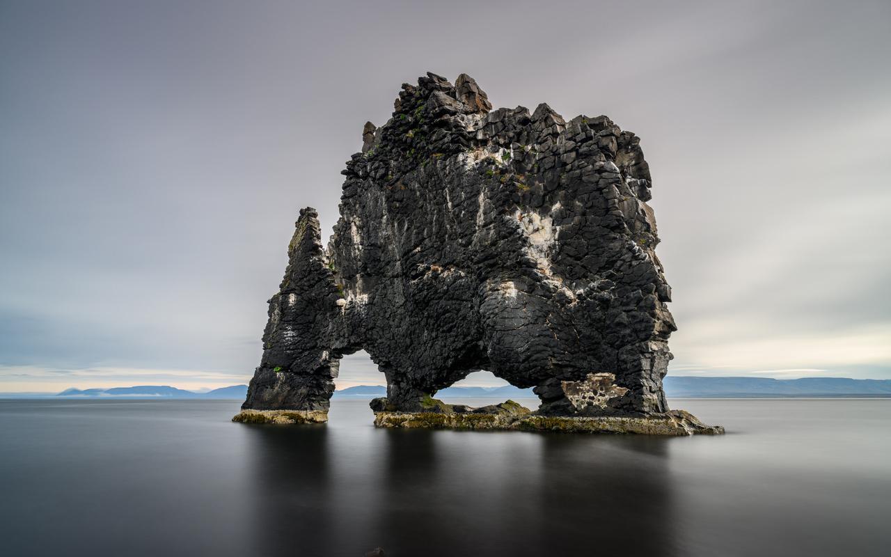 исландия, море, скала