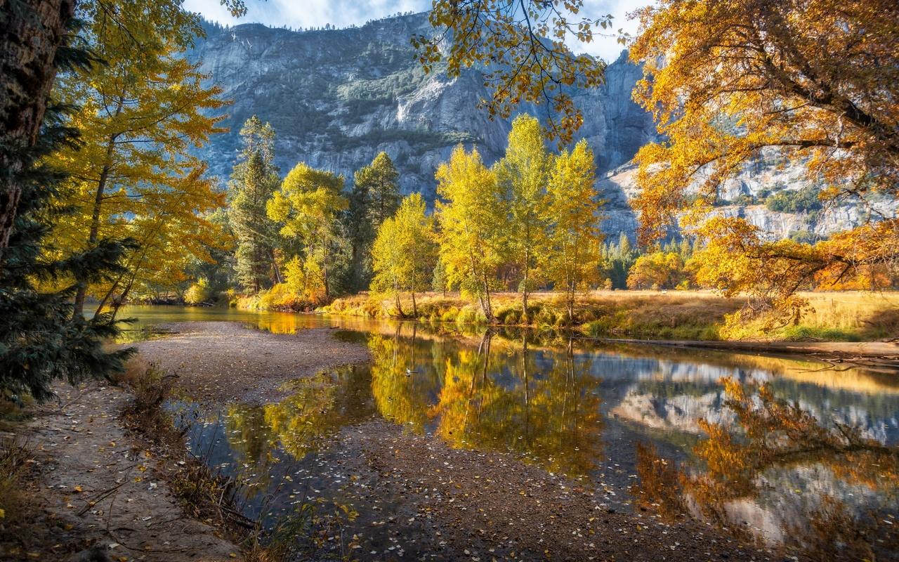 осень, горы, merced river, йосемити, деревья, природа