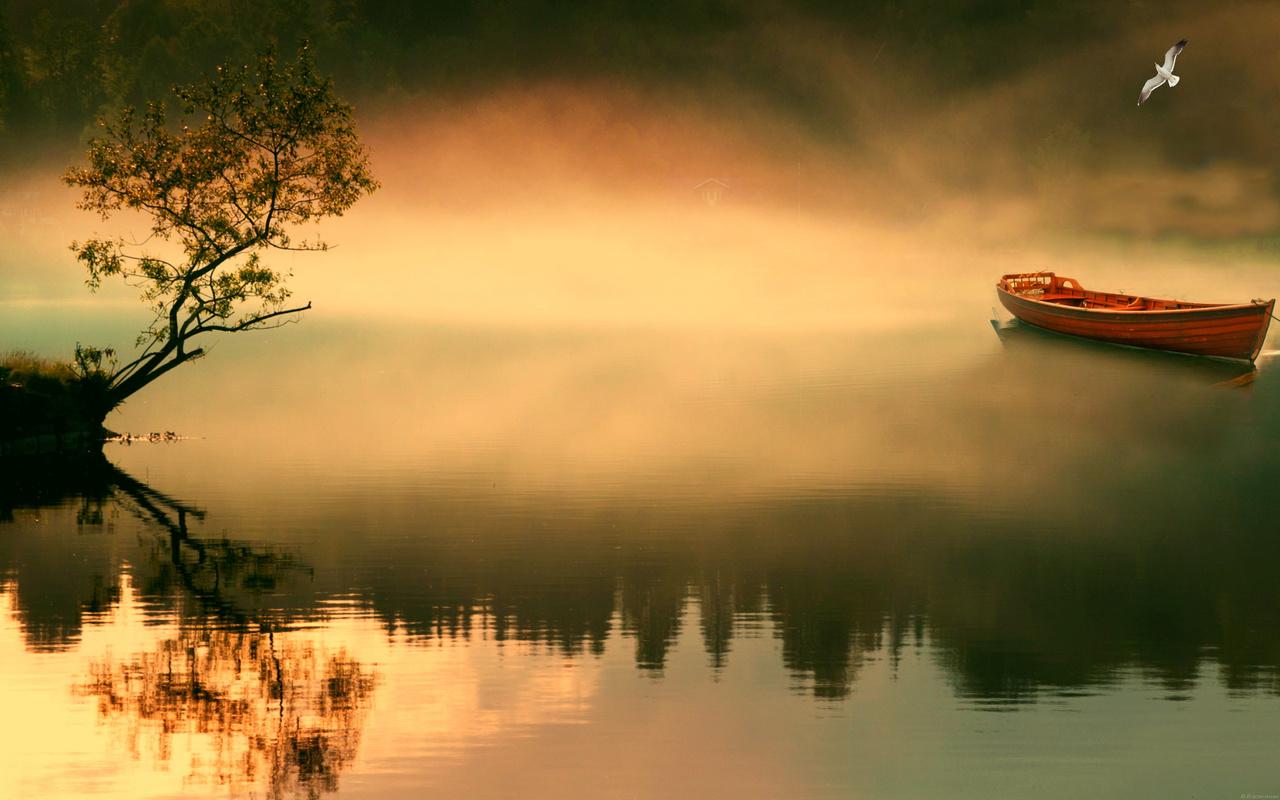 туман, лодка, озеро