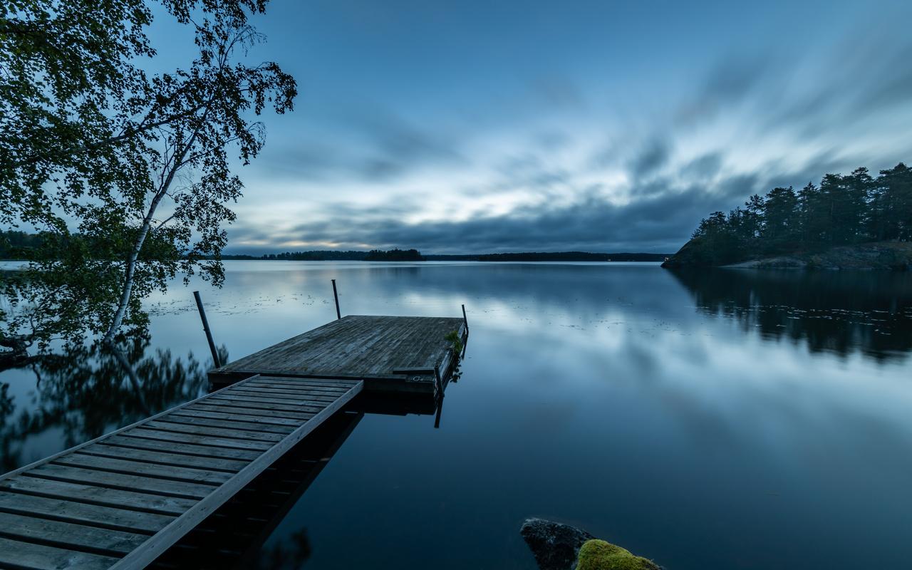 небо, отражение, пирс, озеро, закат, мост, пейзаж, деревья
