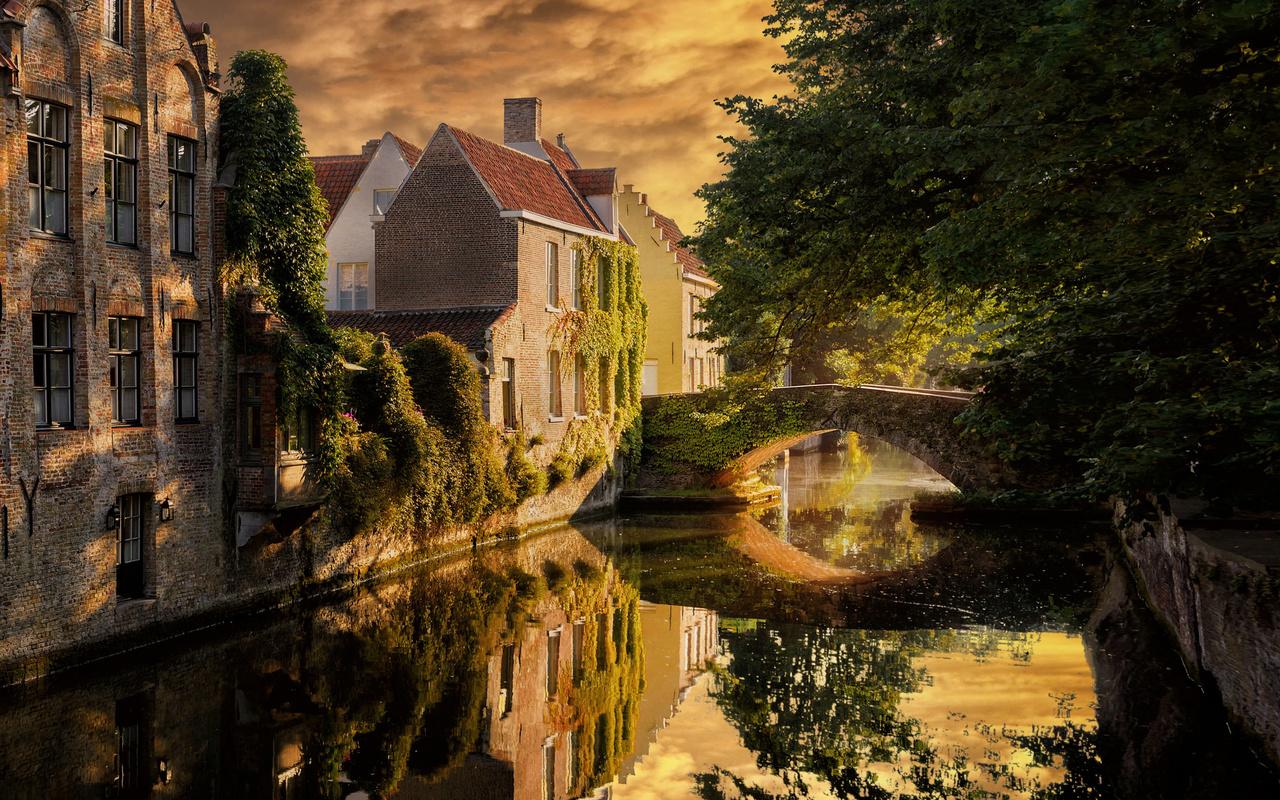 bruges, stone bridge, evening, sunset, brick buildings, brugge, cityscape, belgium