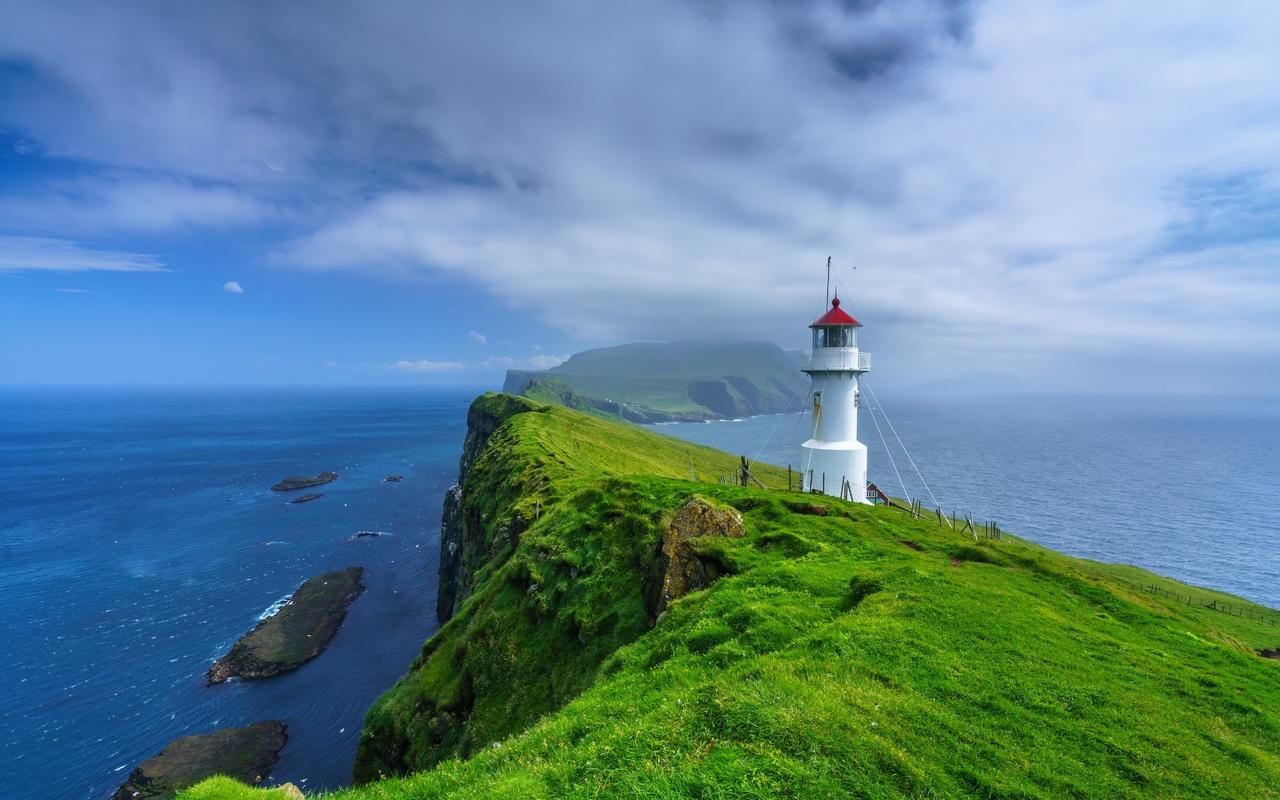 острова, океан, маяк, faroe islands, mykines, holmur lighthouse
