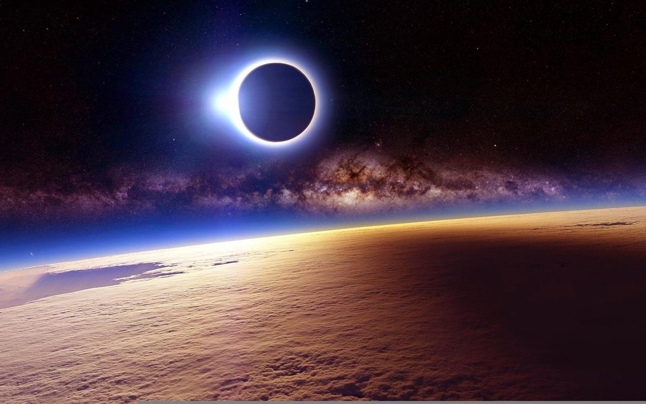 земля, космос, затмение солнца
