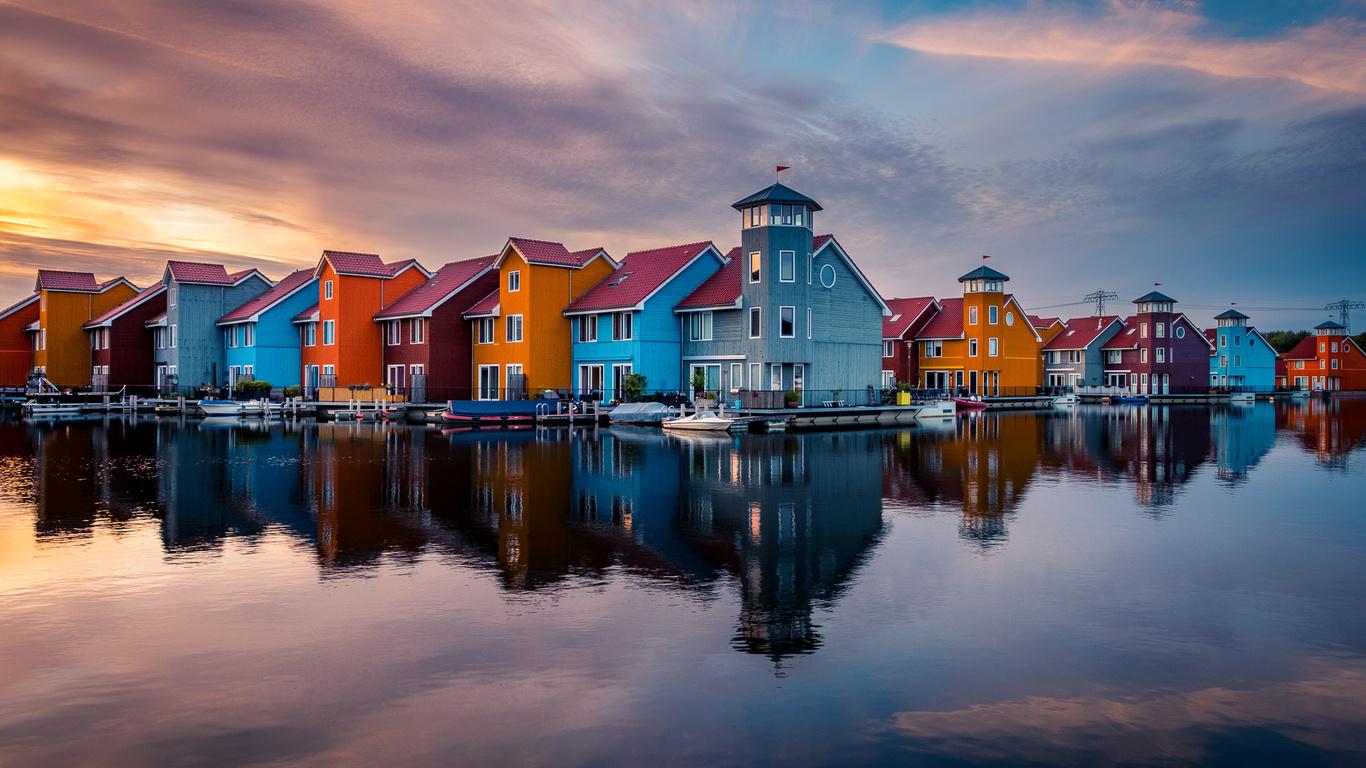 вода, закат, город, отражение, здания, дома, лодки, нидерланды, голландия, гронинген