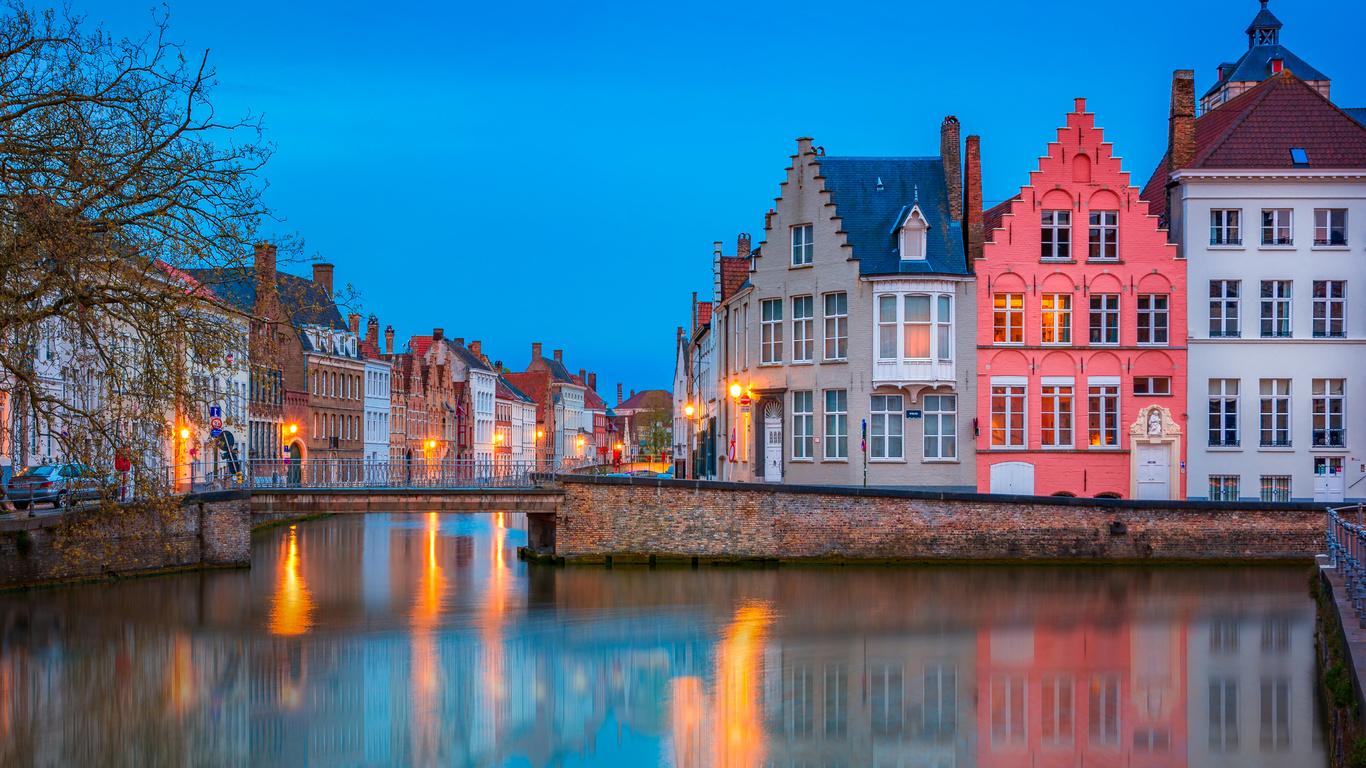 город, дома, вечер, канал, бельгия, мостик, брюгге