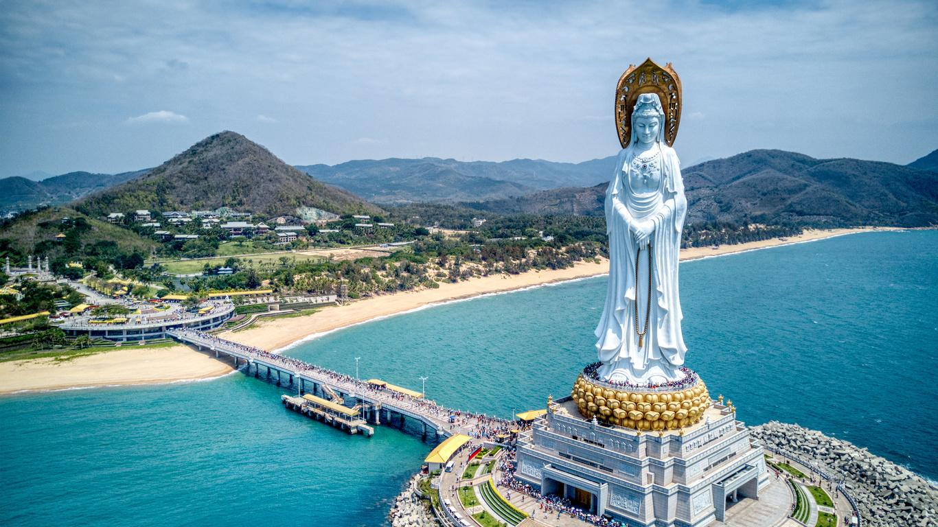 пейзаж, горы, мост, природа, город, река, холмы, китай, статуя, буддизм, санья