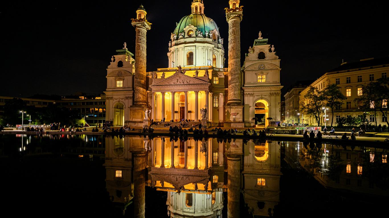 австрия, вена, храм, церковь, пруд, karlskirche, отражение, ночь, город