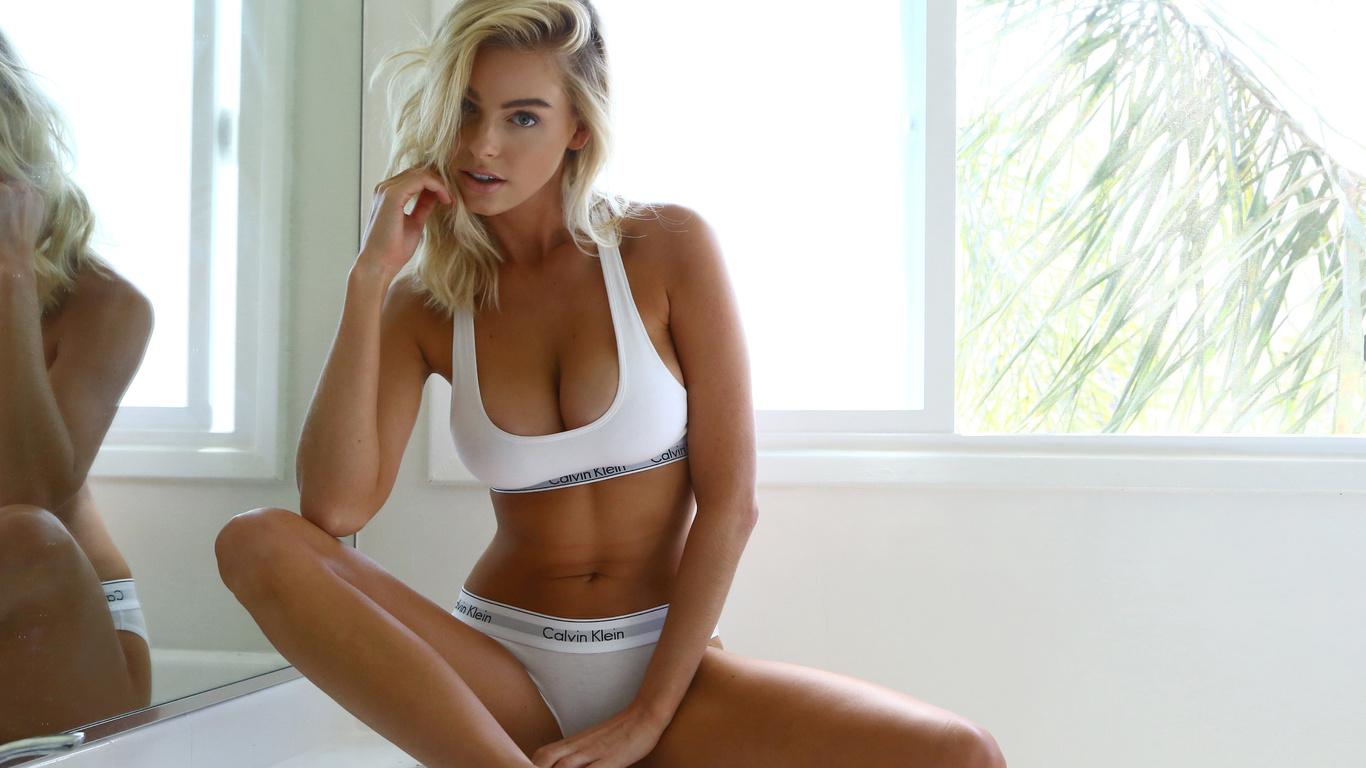 blonde, beautiful, sofa, cute, pretty, mirror, reflection, babe, top, bra, panties, calvin klein, boobs, blue eyes, model, sexy, women, hot