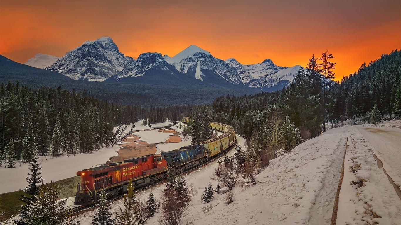канада, природа, пейзаж, горы, леса, зима, снег, поезд