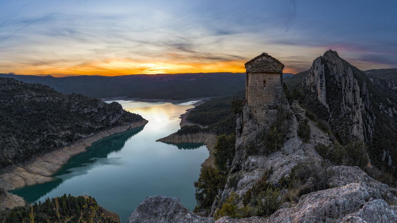 испания, горы, вечер, церковь, mare de deu de la pertusa, catalonia, скала, природа