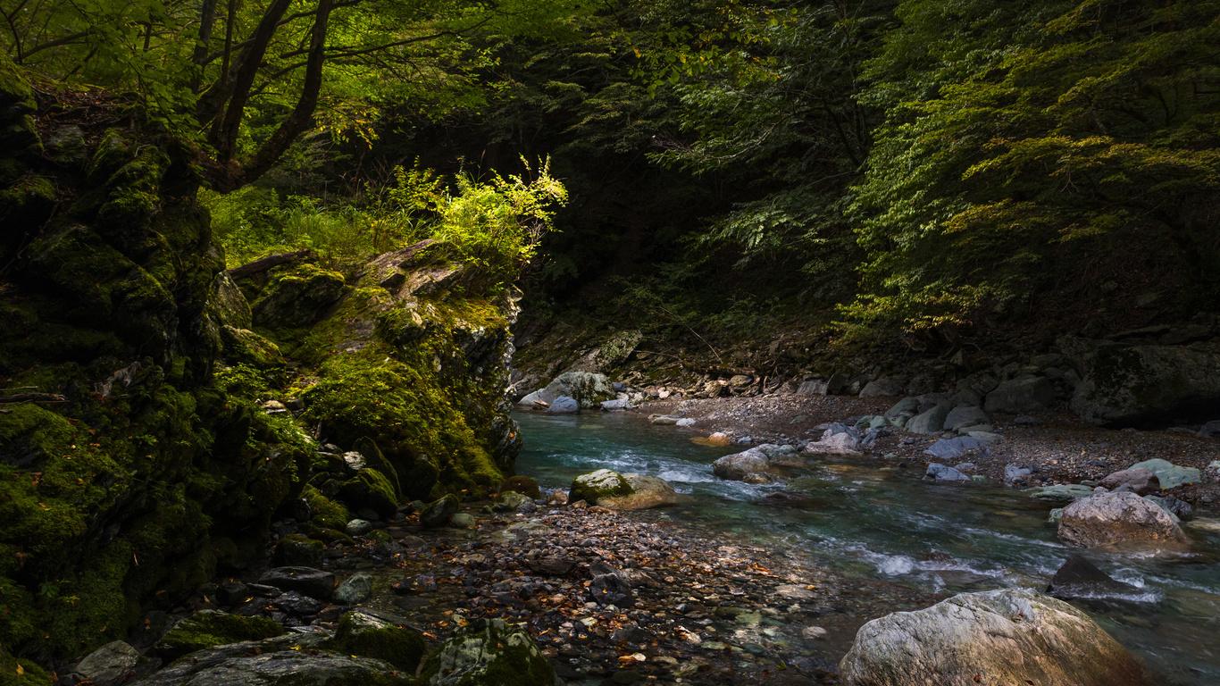 Япония, камни, iya valley, мох, ручей, природа