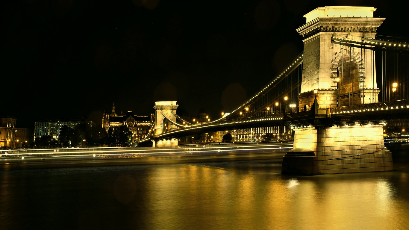 chain bridge, danube river, budapest, night, river, landmark, budapest cityscape, hungary