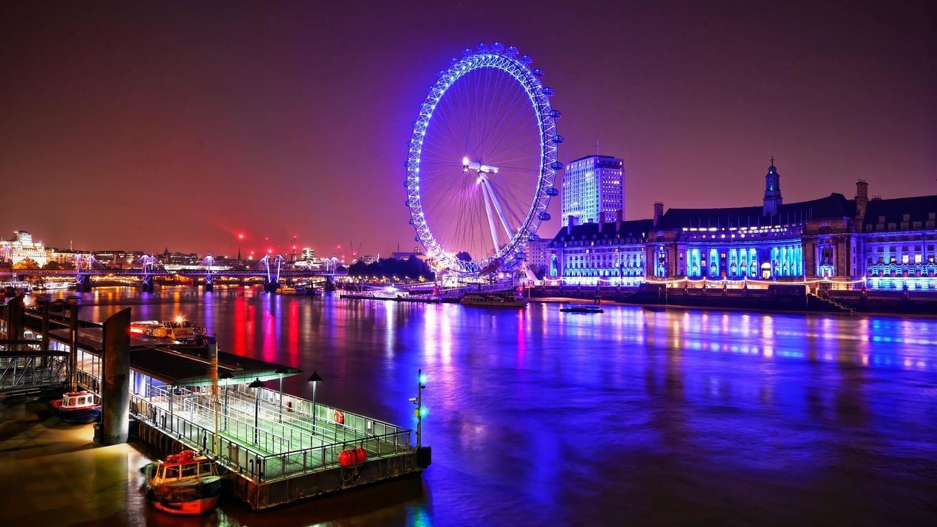 london, eye, at, night