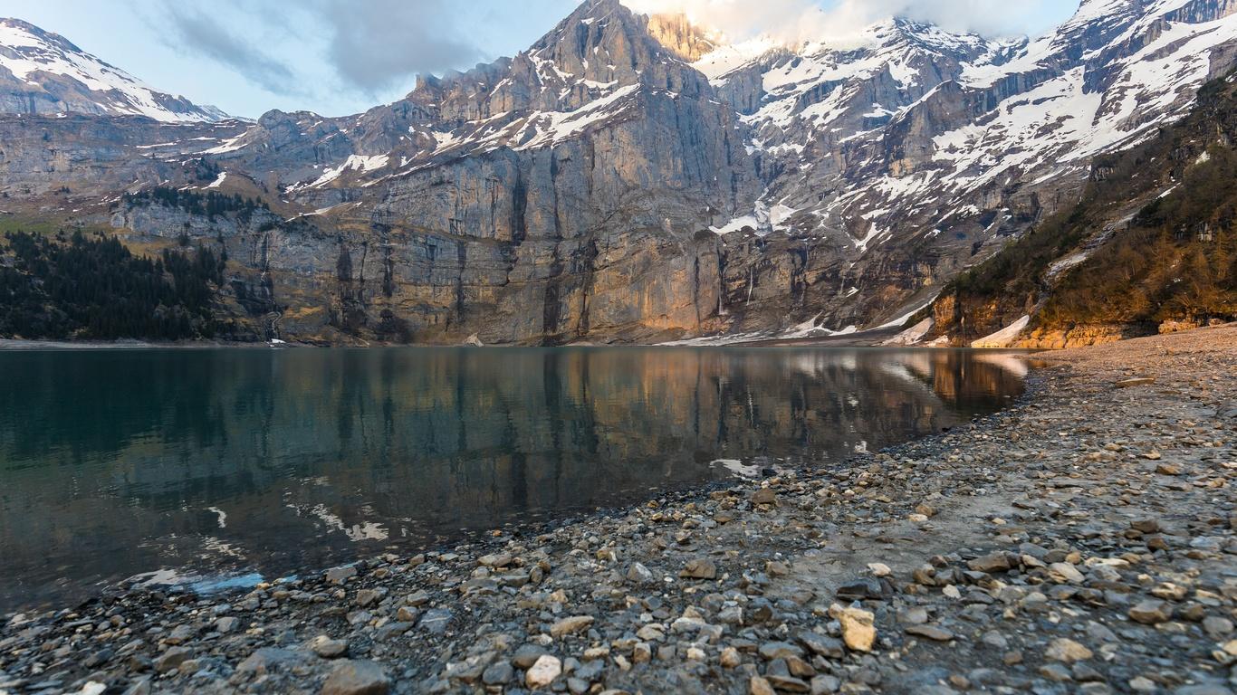 отражение, вода, берег, горы, небо, скалы