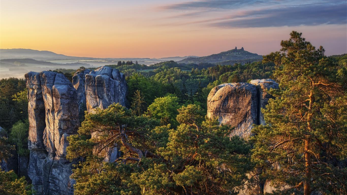 деревья, пейзаж, горы, природа, скалы, утро, Чехия, заповедник