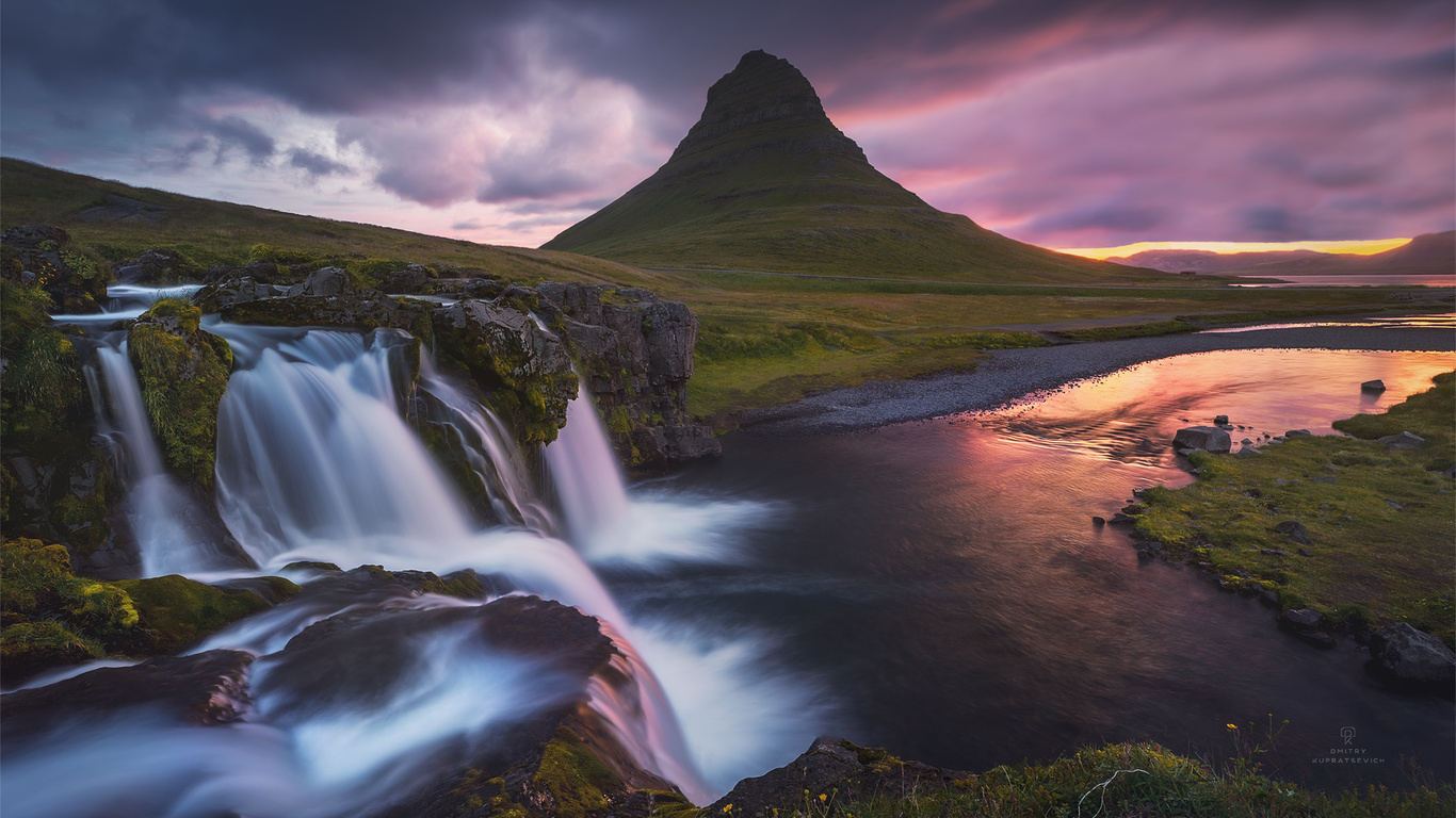 пейзаж, закат, природа, гора, водопад, исландия, киркьюфелл