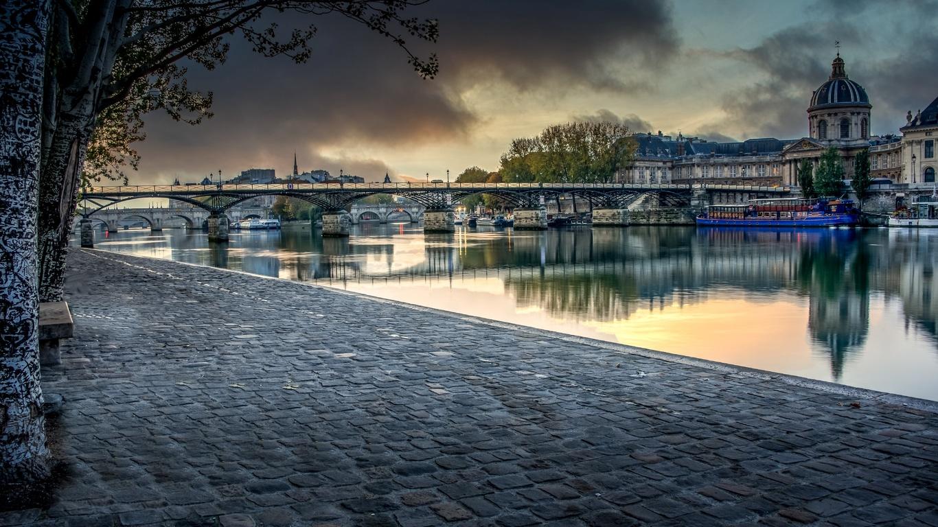 франция, мост, река, quartier louvre, aurore sur le pont des arts, париж, набережная, город