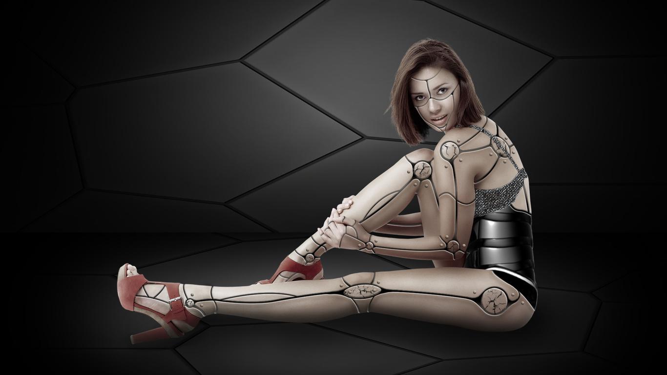 девушка, робот, фон, что красивого в этой обоине?