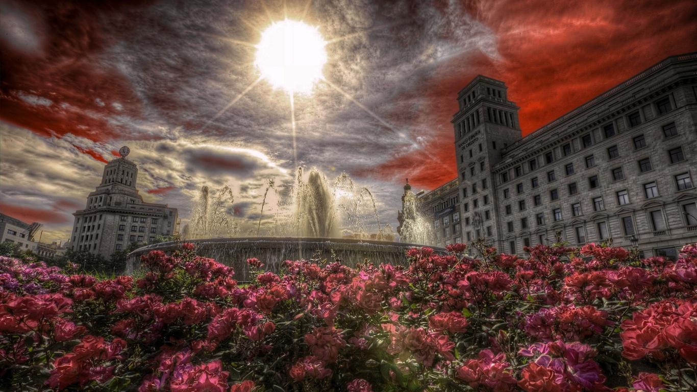 испания, город, барселона, здания, фонтан, цветы, солнце, лучи