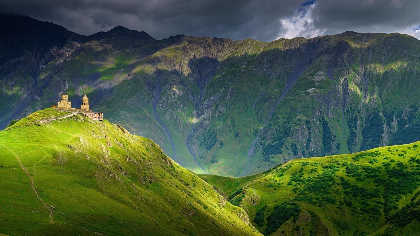 горы, вершины, облака
