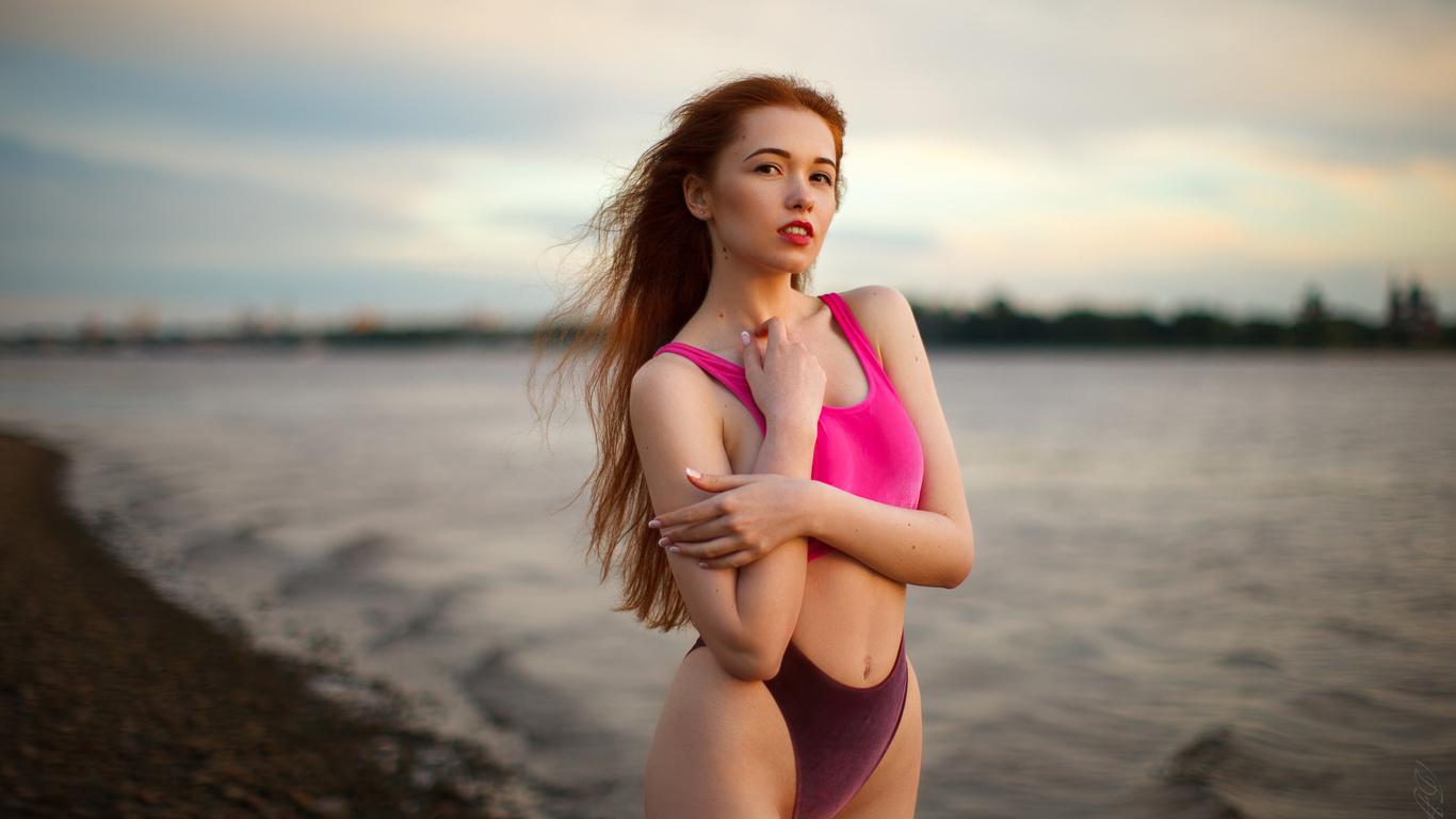 women, long hair, redhead, women outdoors, belly, panties, tank top, water, red lipstick