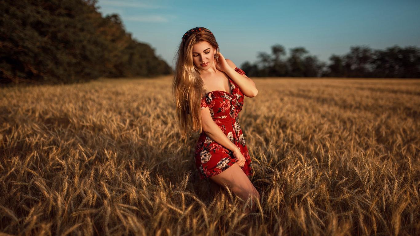 women, blonde, red dress, women outdoors, smiling, long hair, hairband, bare shoulders