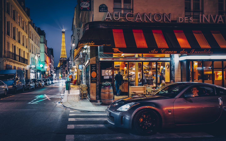 машины, город, улица, франция, париж, здания, башня, дома, вечер, освещение