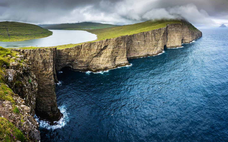 дания, побережье, океан, озеро, vagar, faroe, islands, скала, природа