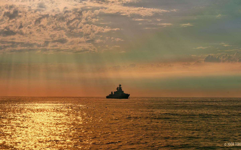 корабль, море, небо