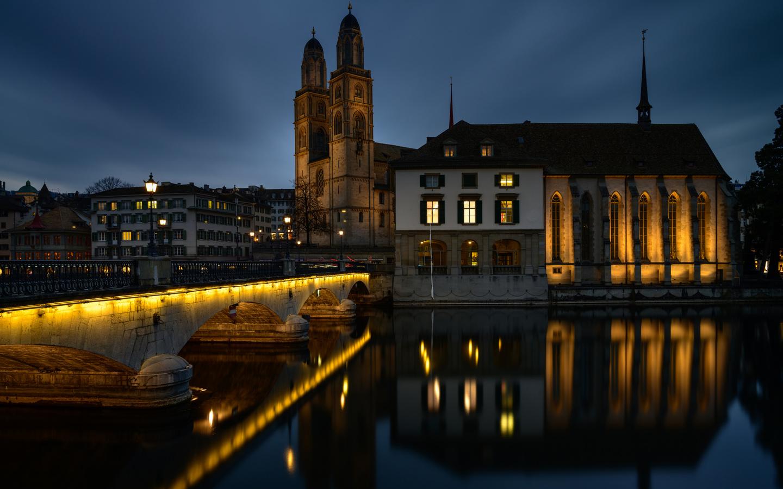 швейцария, цюрих, дома, мост